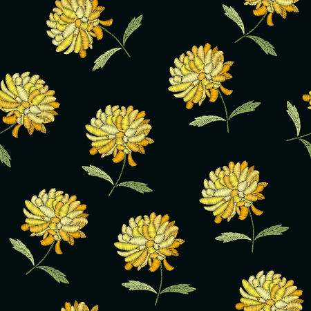 Embroidery. Floral seamless pattern with yellow chrysanthemum flowers on black background. Embroidered print for fabric and textile. Stock fotó - 122530150