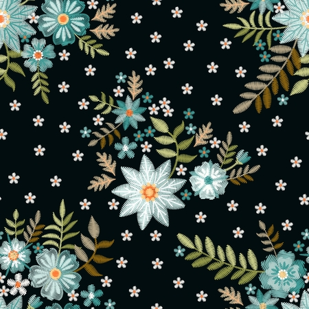 Embroidery seamless pattern with beautiful blue and white flowers on black background. Fashion print for fabric and textile. Embroidered design. Stock fotó - 122530151