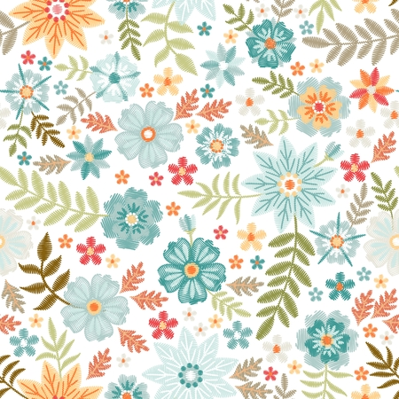 Embroidery seamless pattern with beautiful flowers and leaves on white background. Fashion print with  fancywork. Illusztráció