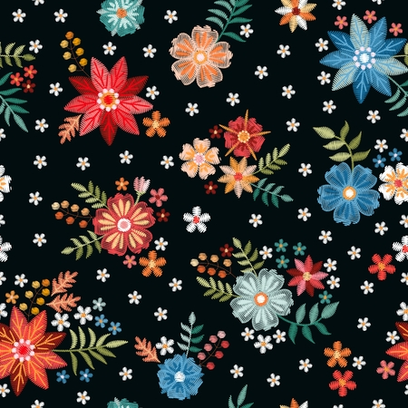 Embroidery seamless pattern with beautiful colorful flowers. Fashion print for fabric and textile. Embroidered design. Stock fotó - 122530153
