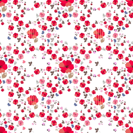 Ditsy seamless floral pattern with little blue cartoon butterflies and pink hearts on white background. Print for fabric.