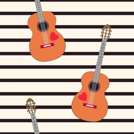 Elegant seamless pattern with acoustic guitars on striped background.