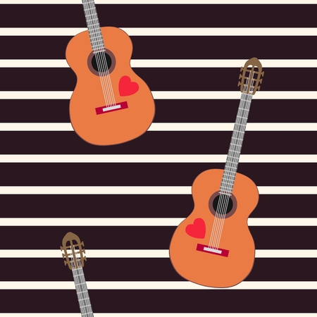 Seamless pattern with classical guitars on black and beige striped background.