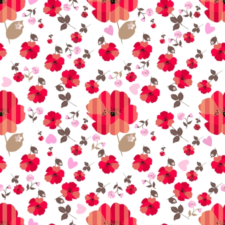 Cute red poppy flowers, pink primrose and little hearts isolated on white   background. Seamless print for fabric.