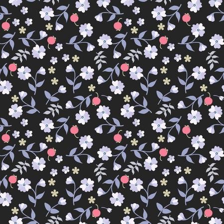 Motif ditsy floral sans couture dans un style campagnard. Petites baies, fleurs et feuilles isolées sur fond noir. Ornement naturel hétéroclite.