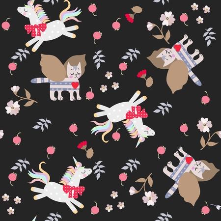 Seamless pattern with funny fairytale unicorns, winged cat and berries, flowers, leaves isolated on black background. Print for fabric, wrapping design.