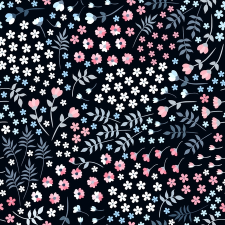 Ditsy seamless floral pattern with small flowers and leaves on black background. Trendy summer design.