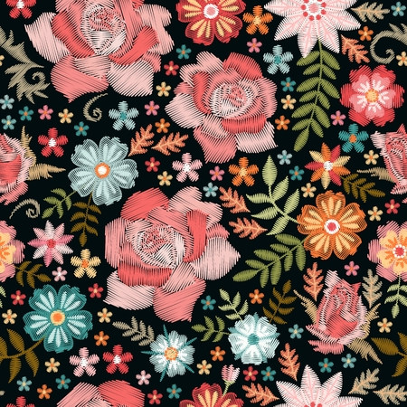Embroidery. Beautiful seamless pattern with embroidered roses and garden flowers.