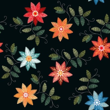Embroidery seamless patterns with bright colorful flowers and leaves on black background. Stock fotó - 122530426
