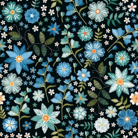 Embroidery ditsy seamless pattern with beautiful wild flowers in blue colors. Trendy print for fabric, textile, wrapping paper. Illusztráció