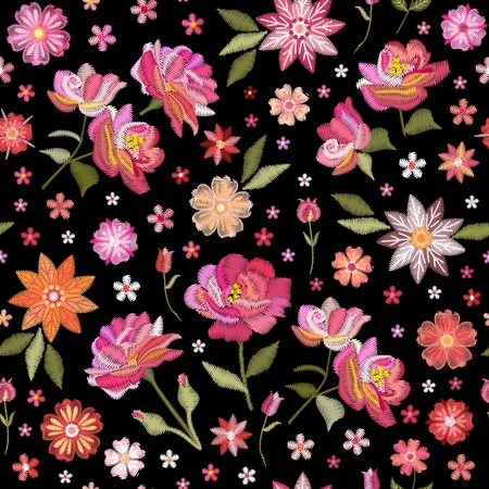 Embroidery seamless pattern with beautiful flowers. Floral print for fabric and textile. Vector embroidered illustration. Stock fotó - 122530564