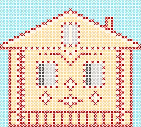 Cross-stitch small cute cartoon  house. Vector design.