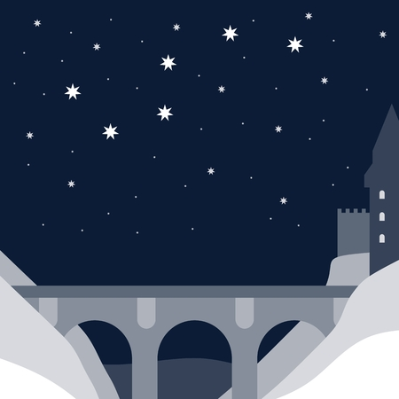 Night landscape with a bridge and medieval fortress town on the shore. Vector card. Ilustração
