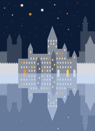 Night old town with castle and ramparts and them reflection. Vector illustration.