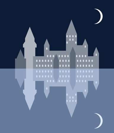 Night medieval town, moon and them reflections in a lake. Ilustracje wektorowe