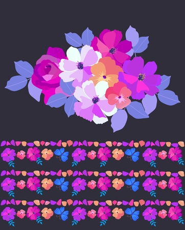 Bouquet of garden flowers and endless natural border isolated on black background. Fashionable print for fabric.