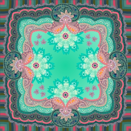 Silk scarf, napkin, square rug or pillowcase with ornate paisley ornament, striped frame and mandalas - flowers. Illustration
