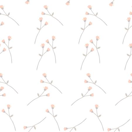 Seamless elegant ditsy pattern with little branches with orange buds on white background. Ilustração Vetorial