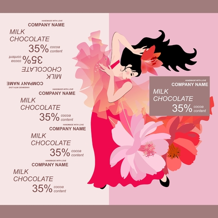 Chocolate bar package design with flamenco dancer girl in red dress on light pink background. Easy editable packaging template. Illustration