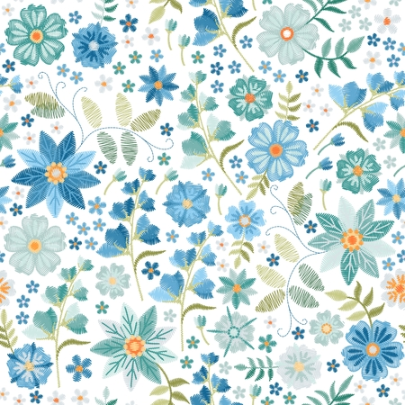 Beautiful seamless pattern with embroidery blue flowers on white background. Fashion summer design.
