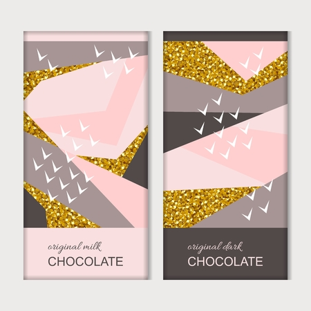 Chocolate packaging. Trendy luxury template with creative pattern with golden elements. Vector design.