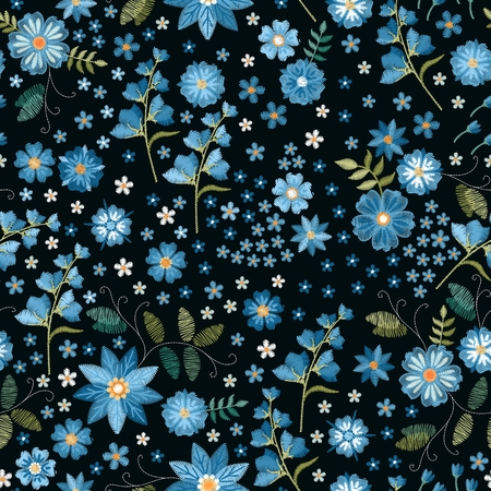 Floral fancywork. Embroidered  seamless pattern. Embroidery blue flowers on black background. Print for fabric and textile. Illusztráció