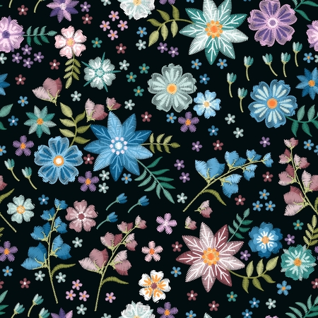 Floral embroidery. Seamless pattern with beautiful blue and violet flowers on black background. Fashion design. Stock fotó - 126137817