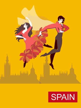 Spanish couple - girl dressed in red dress, and man wearing national clothes with flying cloak - are dancing flamenco. Yellow background, silhouettes of buildings in distance. Vettoriali