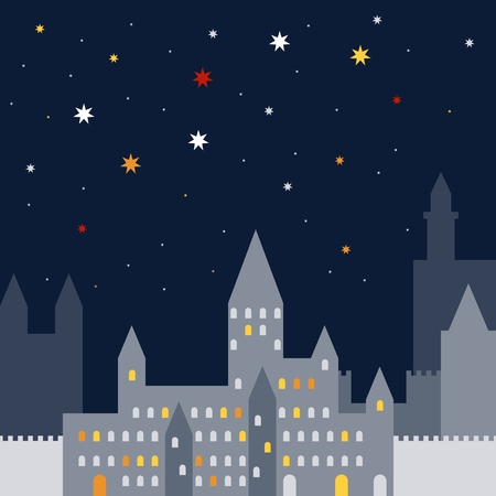Night old town with castle and colorful stars on dark sky. Vector illustration.