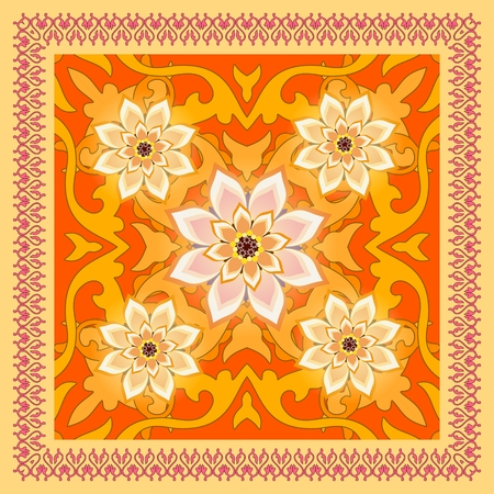 Bright ornamental shawl with lace frame and abstract flowers in ethnic style. Russian motif.