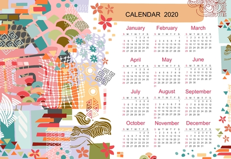 Creative calendar template for 2020 year with colorful modern abstract print. Collage from different shapes and textures.