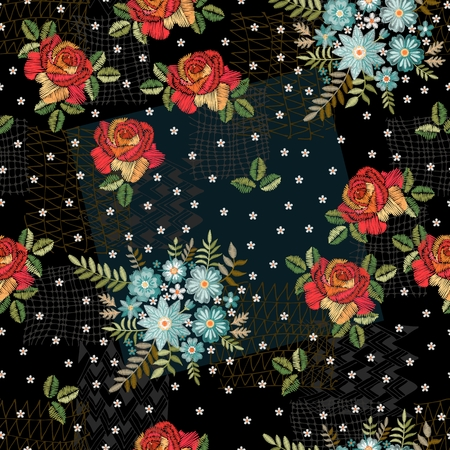 Creative embroidery seamless pattern. Original combination of red roses and bouquets of blue wild flowers. Illusztráció