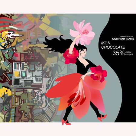 Chocolate bar package design with yong flamenco dancer in skirt in shape of lily flower against green town and guitar silhouette. Иллюстрация