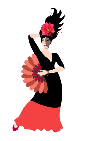Beautiful spanish flamenco dancer, dressed in red- black dress with fan in her hand posing isolated on white background. Card, poster, design element.