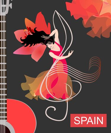 Flamenco dancer in a red dress is dancing on a treble clef opposite a guitar and a large lily flower on a black background. Poster, poster, invitation card.