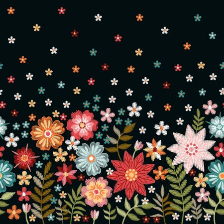 Floral embroidery. Seamless pattern with beautiful flowers on black background. Fashion design.