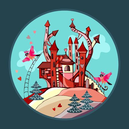 Fairy kingdom, where beautiful pink birds live in magic castle with towers on the hill. Иллюстрация