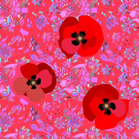 Bright red poppies on pink abstract background. Vibrant seamless pattern.