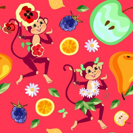 Funny monkeys with fruits and flowers. Bright seamless pattern for children. Print with tropical motifs.