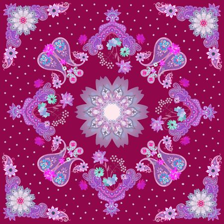 Ornate shawl in Indian style. Quirky ornament with paisley, delicate garden flowers and a mandala on a purple background. Stock fotó