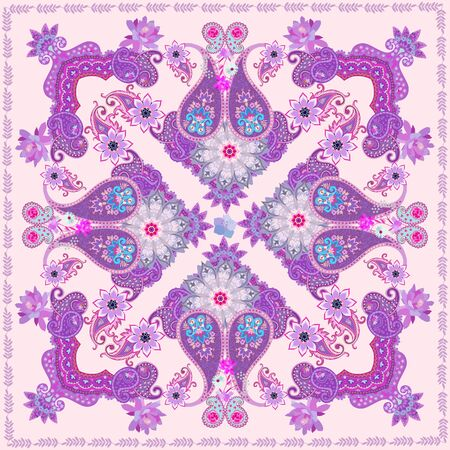 Gentle indian ornament with paisley, flowers and mandalas on delicate peach color background. Shawl, carpet, lovely tablecloth or cushion.
