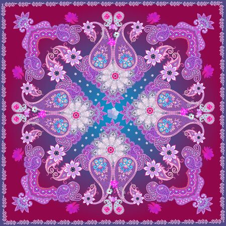 Carpet or shawl in ethnic style with ornate paisley ornament, mandala and gentle garden flowers on blue and purple background. Indian, russian, turkish, damask motifs. Stock fotó