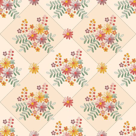 Beautiful seamless pattern with floral embroidery in vintage style Trendy print with ornament of  embroidered flowers.
