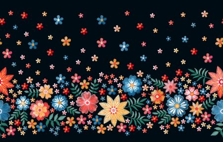 Seamless border with summer embroidered flowers. Colorful floral ornament. Print for fabric and textile. Illusztráció