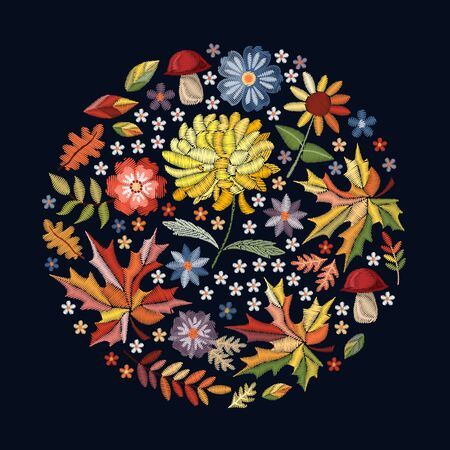Autumn embroidery round pattern with flowers, leaves and mushrooms. Fashion design. Stock fotó - 127634640