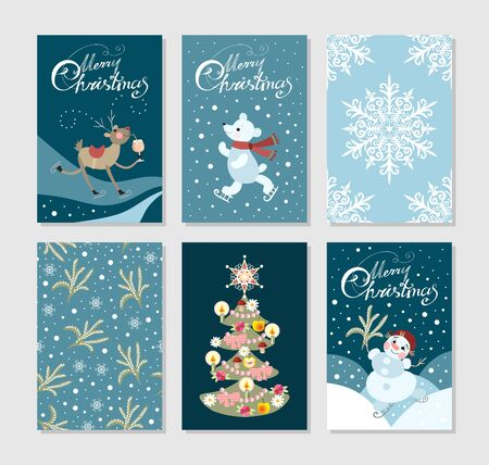 Set of cute christmas greeting cards with deer, polar bear, new year tree, snowman and snowflakes.
