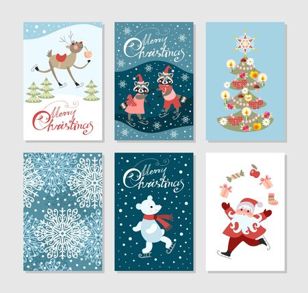 Set of cute christmas greeting cards with deer, raccoons, polar bear, new year tree, Santa Claus and snowflakes. Illusztráció