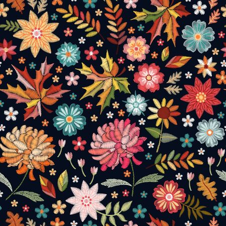 Colorful embroidery pattern. Seamless design with bright flowers and leaves on black background. Illusztráció