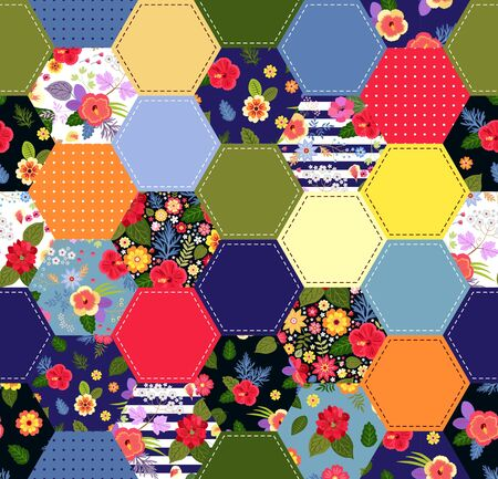 Colorful seamless patchwork pattern with bright flowers. Trendy quilting design. Print for fabric and textile. Illusztráció