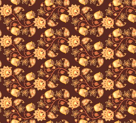 Seamless fantasy pattern with flowers, leaves, berries and paisley on dark brown background. Ethnic style. Print for fabric. Indian, damask, russian motifs. Stock fotó